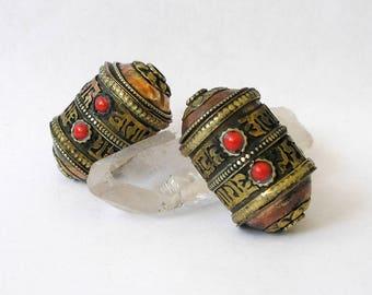 Tibetan Prayer Wheel Bead Mixed Metals Coral Gemstones 'Om Mani Padme Hum'