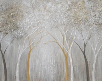 Large canvas painting forest trees light cream and taupe beige abstract woods