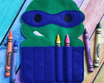 Blue Turtle Felt Crayon Holder * Crayon Holder * Coloring * Party Favor * Ninja Turtle Crayon Holder