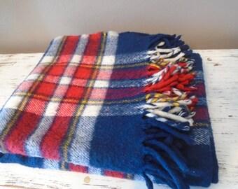 Red, white, blue, yellow plaid wool blend stadium / lap / wheelchair blanket / throw