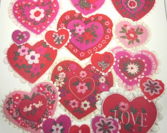 Vintage Set of 17 Valentine's Day Die Cuts with Scalloped Edge Hearts Various Sizes