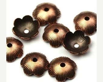 50% OFF SALE Bead Cap Ribbed Textured Copper Ox 8mm (4) FI596
