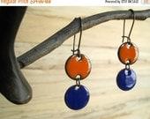 Orange and Blue Chandelier Earrings Copper Enamel Dangle Earrings