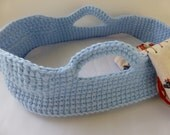 Crocheted Doll Moses Basket and Blanket, Light Blue / Wild Horses