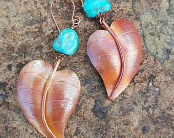 COPPER LEAF Earrings - Turquoise Earrings - Sleeping Beauty Turquoise - Rustic Jewelry - Nature Jewelry - Cowgirl Earrings