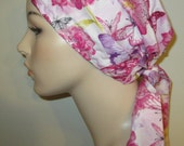 Butterflies and Flowers PreTied Chemo Hat, Cancer Scarf, Modest Hat Alopecia
