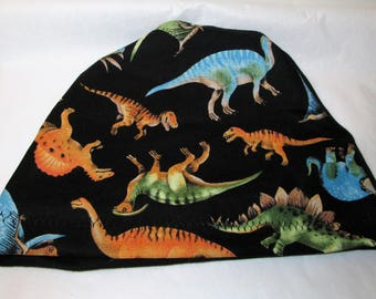 Kid's  Chemo Hat, Dinosaur Print  Kid'sCancer Cap, Alopecia, Sleep Cap Free Ship USA