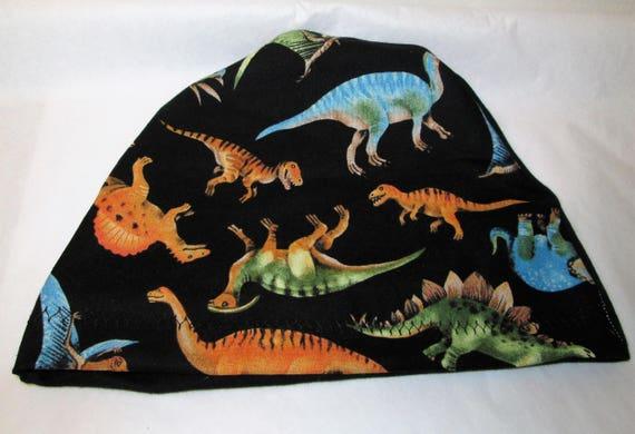 Kid's  Chemo Hat, Dinosaur Print  Kid'sCancer Cap, Alopecia, Sleep Cap Free Ship USA