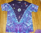 Space Tie Dye Short Sleeve Shirt  Sizes Large  XXL    hippie  celestial