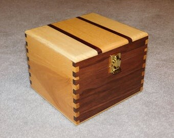"""Large Wood Recipe Box for 4"""" x 6"""" Index Cards - Walnut and Ash"""