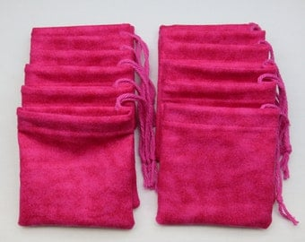 Set of 12, Pink Flannel Cotton Hoo Doo,  Mojo Bags, Jewelry Pouches, Handmade
