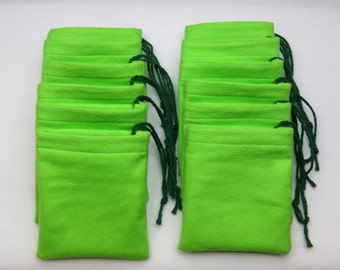 Set of 12, Green Flannel Cotton Hoo Doo,  Mojo Bags, Jewelry Pouches, Handmade