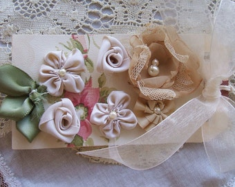 Card of Handmade Roses for making your own Brooch, Hair Clip,or to add to your clothing, Victorian Ribbon & Chiffon Rose Kit