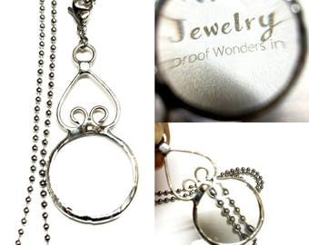 Large Magnifying Glass Necklace Stainless Steel Chain Readers Useful Gift Idea for Mom, Sister, Wife