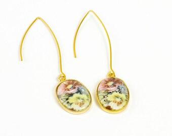 Vintage Pastel Flower Earrings, Vintage Earrings, Flower Earrings, Floral Jewelry