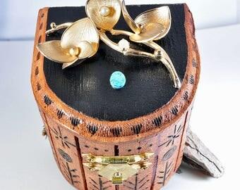 Wood box | Trinket box | woodburned box | small wood box