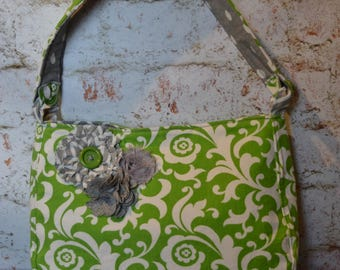 """The """"MADISON""""   Shoulder Bag / Purse  in  Green / White / Grey  with shabby flower accent OOAK"""