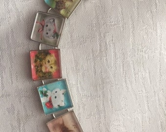 Vintage 1960s and 70s Christmas Kitten Christmas Card Bracelet.. FREE USA SHIPPING