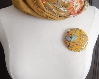 Gold multi brooch, embroidered pin, coat accent, hat jewelry, glove decoration, winter accessory