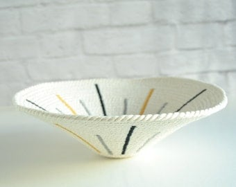 Tribal basket // Wall display plate / Cotton anniversary gift / Decorative rope bowl / Scandinavian decor / Baskets and bowls / Bread basket