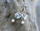 White Freshwater Pearl, Sterling Silver Yin and Yang Earrings, Yoga Earrings, Circle Disc, Pearl Earrings, June Birthstone