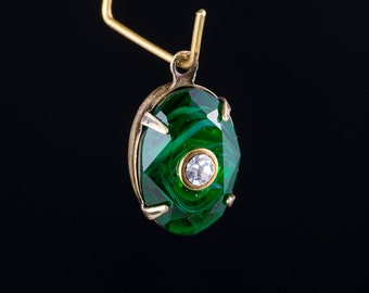 Swarovski Emerald Stone with White Swirl and Crystal Inset in 1 Loop Brass Ox Setting (1) 14x10mm ovl019P