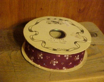 Sale Now in Progress~~Old, New Stock--Spool of Calico Ribbon from the 1980's--40 Yards of Ribbon~~Carlyle Brand