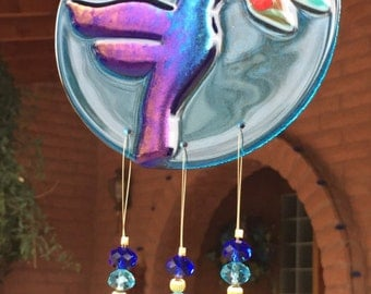 Hummingbird Glass Windchime