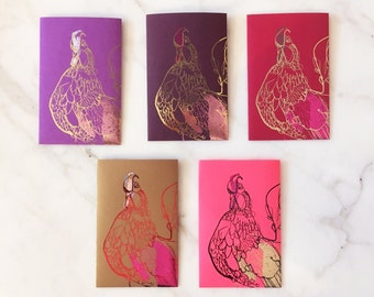 5 Handmade Foiled Chinese Red Envelopes - Year of the Rooster