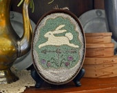 """Instant Downloaded PDF Pattern for Easter-tide, """"Bunny Rabbit Weather-vane"""" Punch Needle Pattern #170226d"""