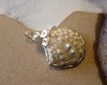 Under the boardwalk silver wire wrapped seashell pendant 24
