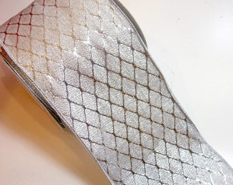 Silver Ribbon, Offray Silver Dorado Wired Fabric Ribbon 4 inches wide x 10 yards, Full Bolt