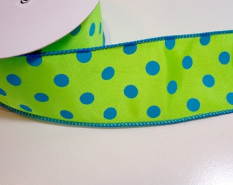Polka Dot Ribbon, Apple Green and Blue Wired Fabric Ribbon 2 1/2 inches wide x 10 yards, Offray Dory Ribbon