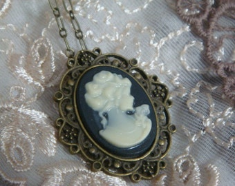 Cream and Black Lady Portrait Cameo Necklace
