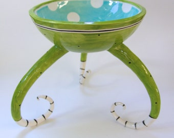 whimsical pottery Serving Bowl with legs :) big colorful polka-dots lime green & light turquoise  Beach aqua Home Decor