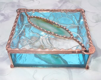 Teal Blue Agate Inlay, Stained Glass Box, OOAK gift, Stained Glass Jewelry Box, Your choice of handle