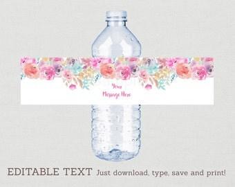 Floral Bridal Shower Water Bottle Labels / Floral Bridal Shower / Watercolor Floral / Printable INSTANT DOWNLOAD Editable PDF B100