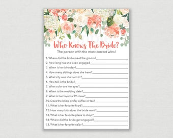Floral Who Knows The Bride Best Game / Floral Bridal Shower / Peach Floral / How Well Do You Know The Bride Game / INSTANT DOWNLOAD B102