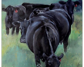PRINT Angus Cows Heifers Art Print