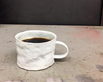 Translucent Textured porcelain crumple cup
