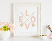 Coral Pink Gold Nursery Decor Art Print, Pink Gold Arrows, Baby Shower Gift, Baby Shower Decor Instant Download, Best Nursery Decor Wall Art