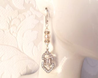 Art Deco Bridal Earrings with Swarovski Crystal Rhinestones and Pearl for Vintage Glam Wedding or Victorian Prom