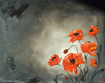Poppy Glow, Red, Orange, Poppies, Poppy, Original Oil Painting, 9x12, texture