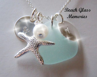 Sea Glass Pendant  Beach Glass Jewelry, Personalized Seaglass Necklace, Aqua Charm Necklace Beach Glass Necklace
