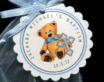 Baptism Favor Tags - Christening Favor Tags - Personalized - Boy - Bear with Cross - Blue