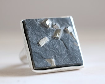 Slate and Pyrite ring. Sterling silver ring with natural Slate with Pyrite crystals. Slate ring, Pyrite ring, black stone ring, statement.