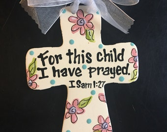 Children's Hand Painted Ceramic Cross - Great Baptism, Christening or Shower Gift