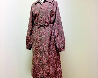 Maxi Dress / Shirt Dress / Long Sleeve Day Dress --- European Cat - Pink