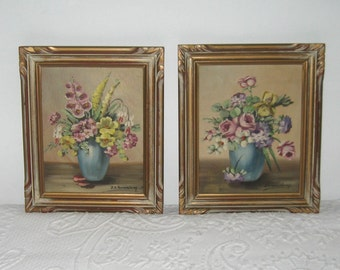 oil florals . framed oil florals . 60s oil florals . Janet E. Greenleaf . listed artist . pair of florals . lot of 2