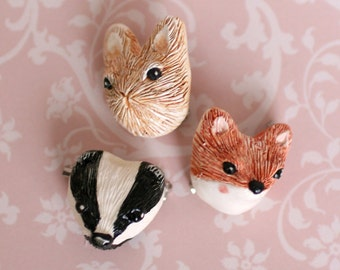 Ceramic Woodland Animal Brooch
